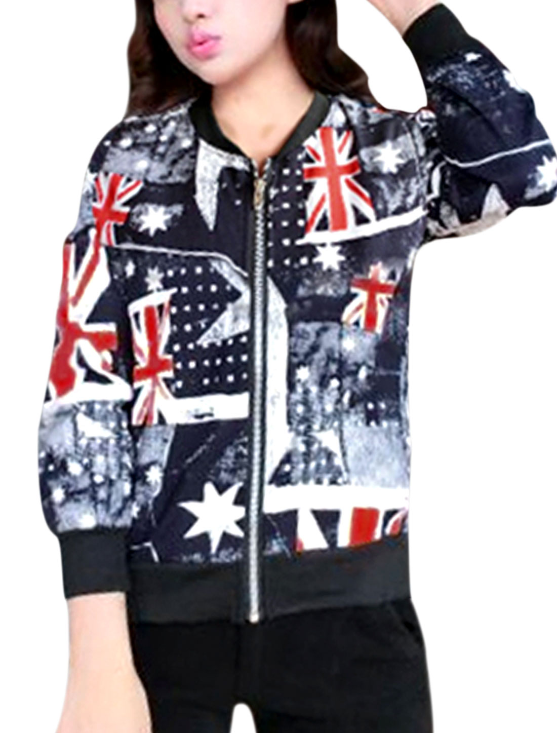 Women Navy Blue Zip Up British Flag Stars Prints Ribbed Trim Jacket XS