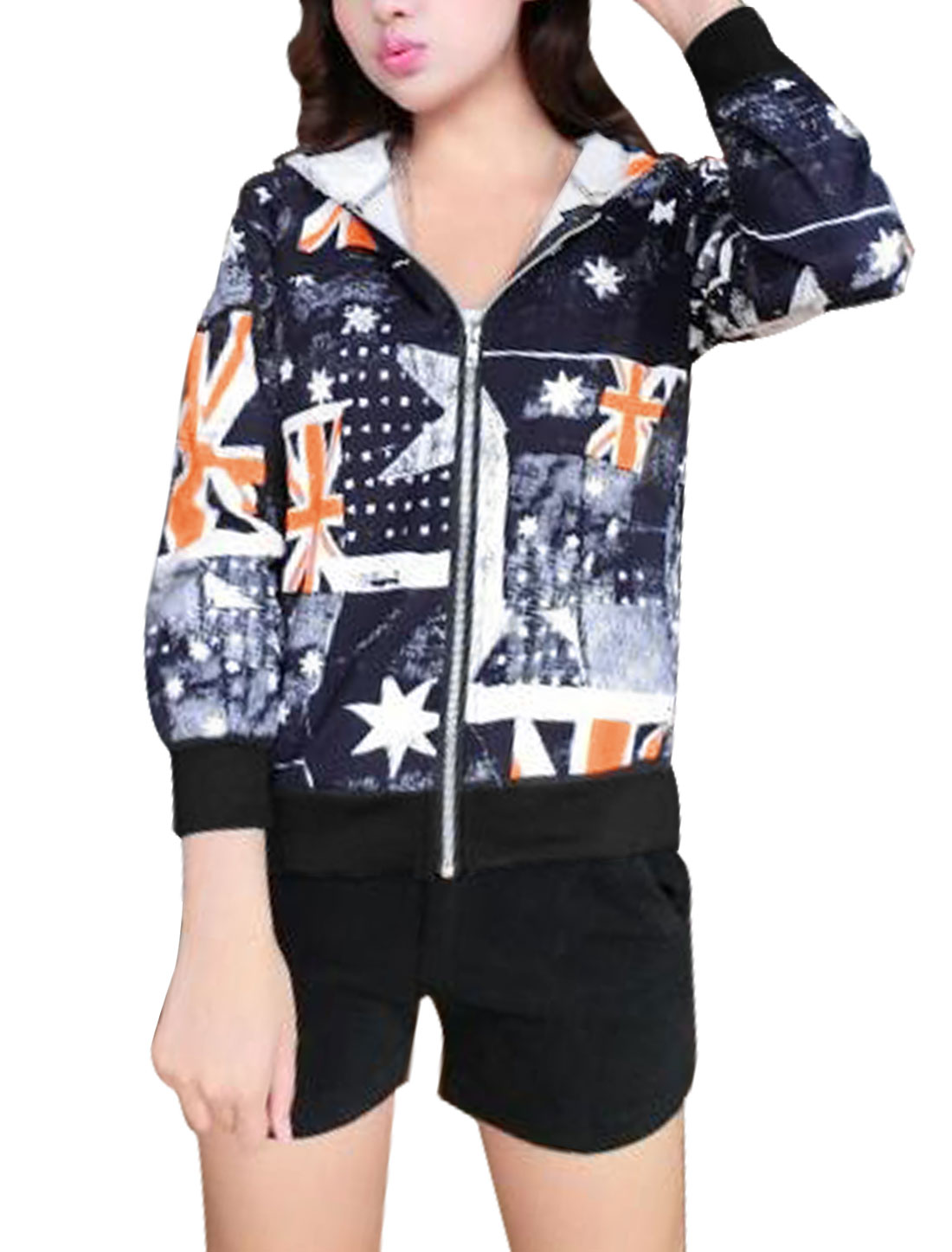 Ladies Navy Blue Zip Up British Flag Stars Prints Front Pockets Hoodie Jacket XS