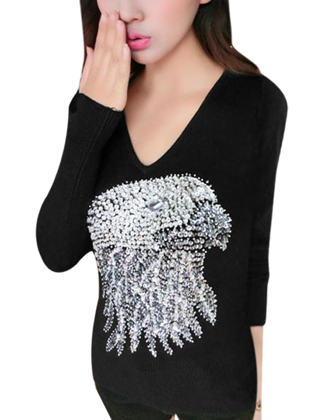 Women Paillette Eagle V Neck Long Sleeves Knit Shirt Black M