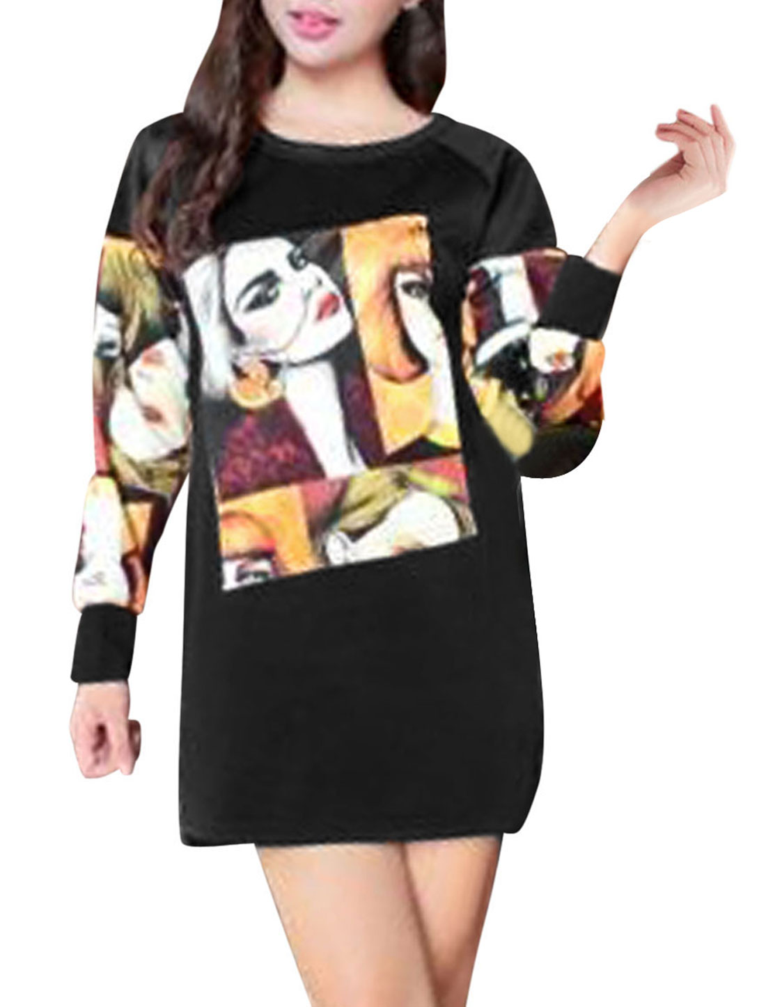 Ladies Black Pullover Portrait Prints Low-High Hem Leisure Dress XS