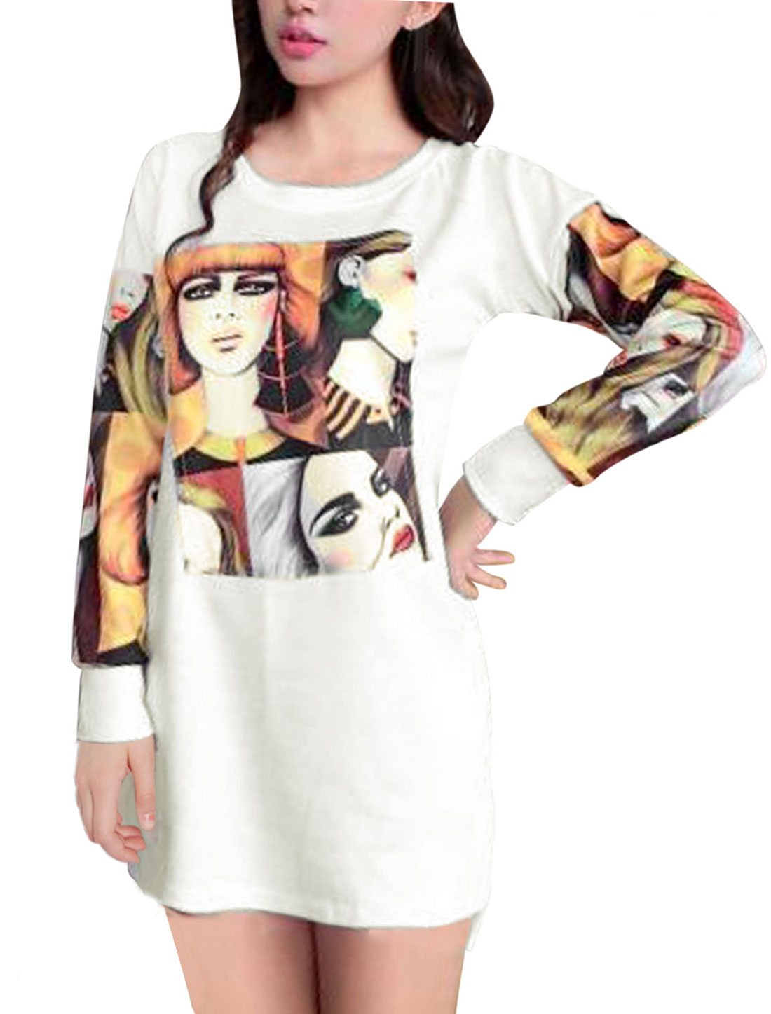 Ladies White Slipover Portrait Pattern Low-High Hem Unlined Dress XS