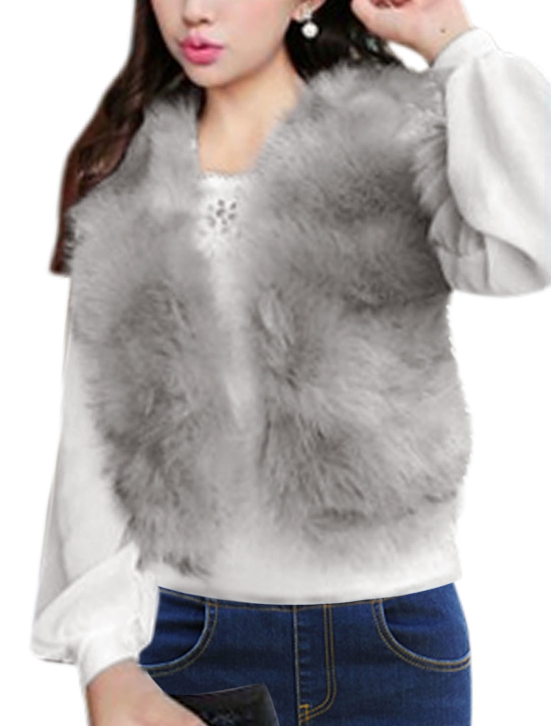 Women Front Opening Sleeveless Faux Fox Fur Vest Gray XS