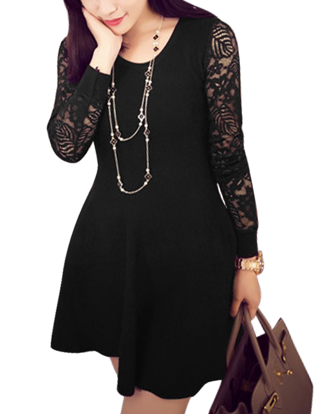 Women Lace Long Sleeve Panel Round Neck A-line Dress Black XS