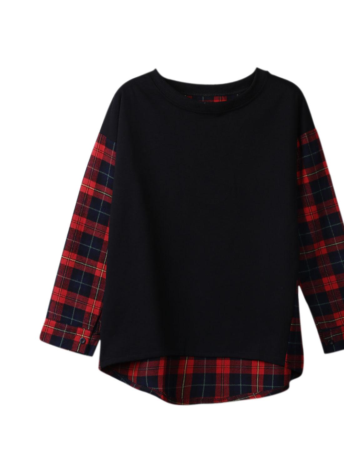 Ladies Black Red Checks Prints Slipover Splice Button Cuffs Leisure Top S