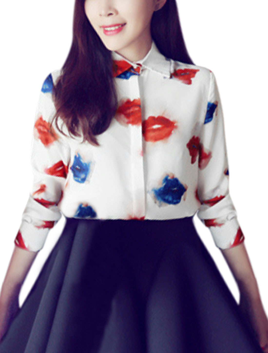 Women Point Collar Lips Pattern Button Down Shirt Off White XS