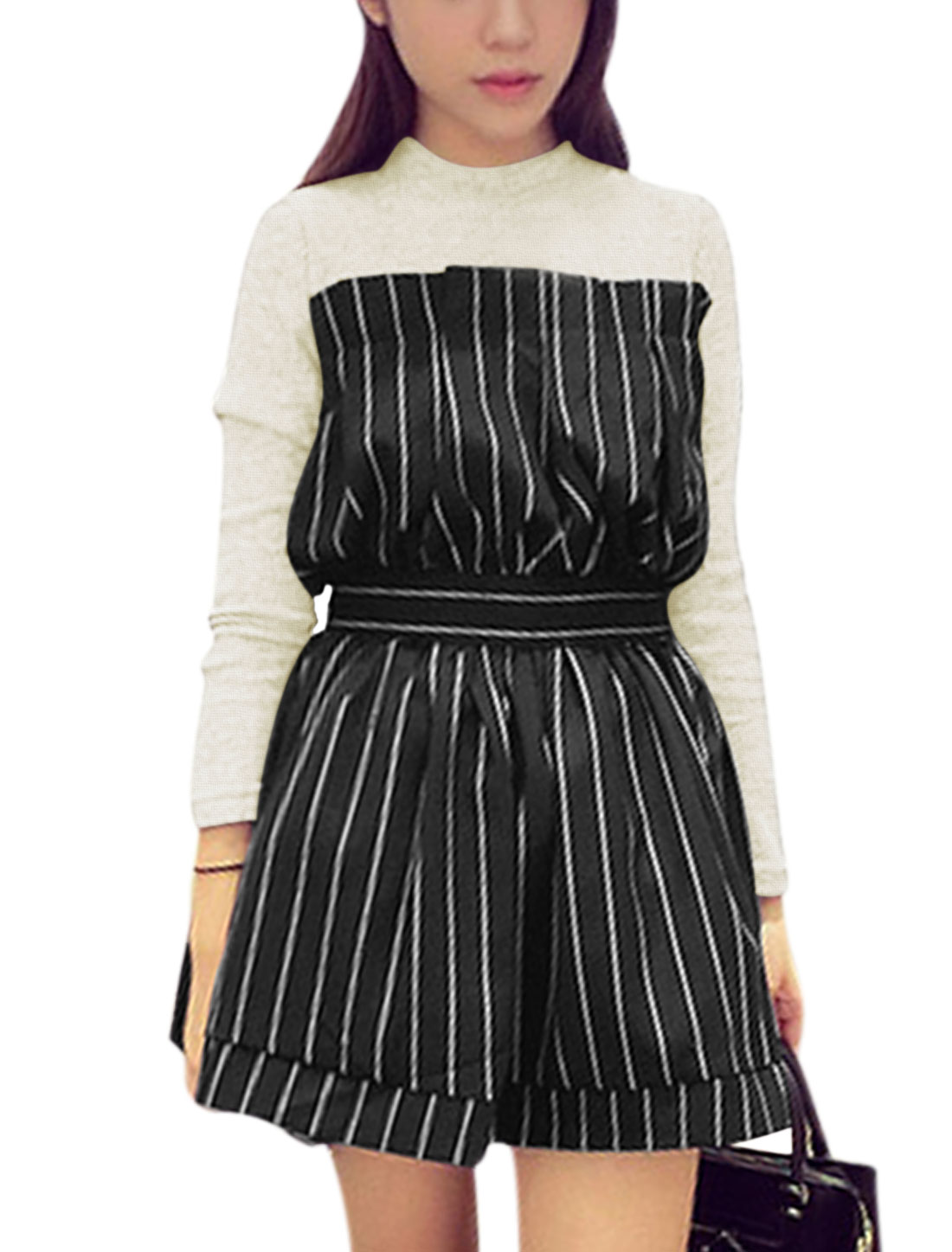 Women Beige Black Layered Splice Stripes Ruched Detail Pullover Dress M
