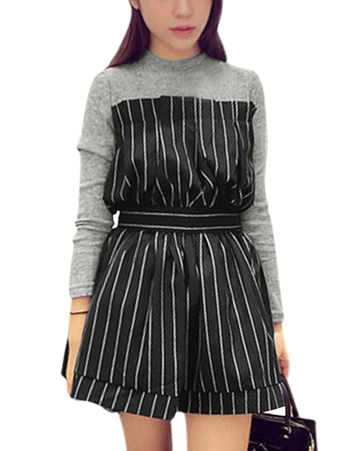Women Gray Black Layered Splice Stripes Round Neck Pullover Dress M