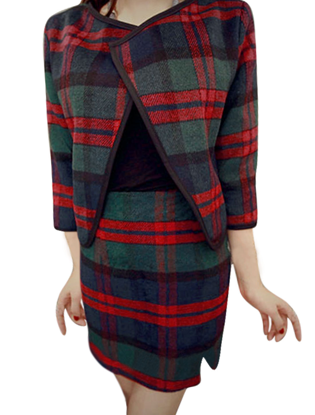 Women Buttonless Worsted Coat w Natural Waist Worsted Skirt Sets Green Red S