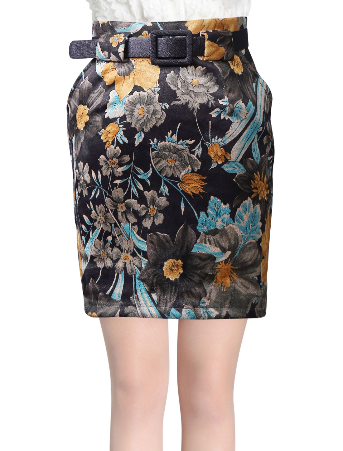 High Waist Floral Prints Sexy Skirt for Women w Belt Dark Brown S