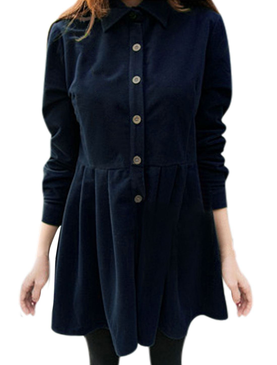 Women Point Collar Long Sleeves Pleated Shirt Dress Navy Blue S
