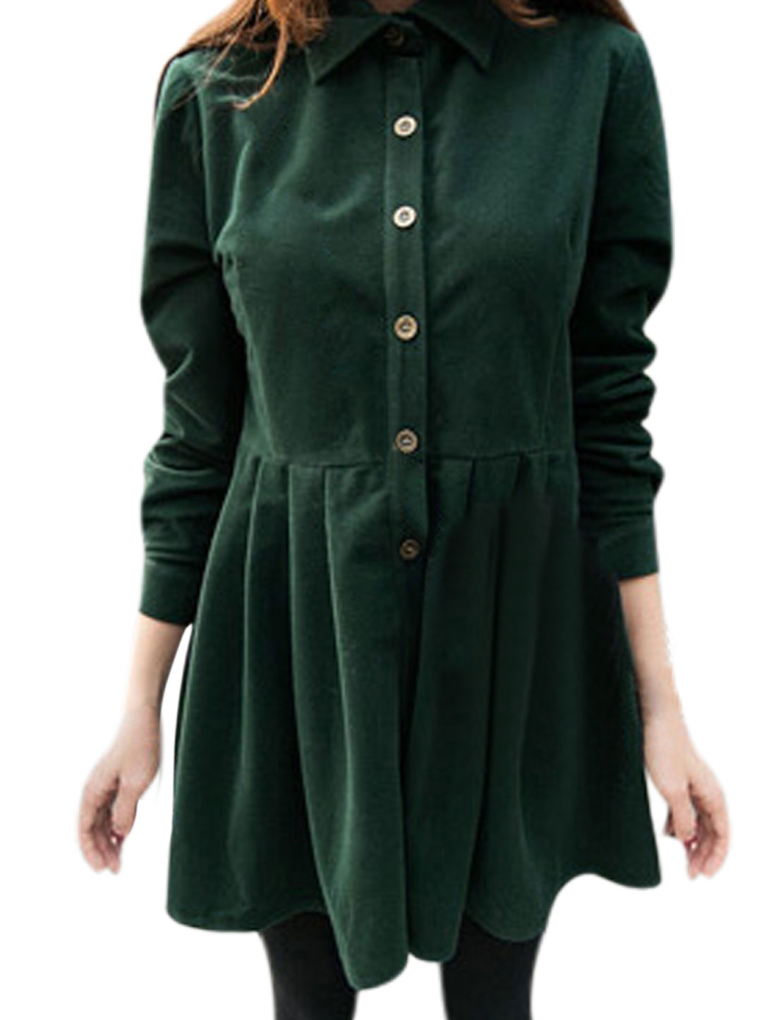 Ladies Button Closed Front Pleated Design Dusty Green Shirt Dress S