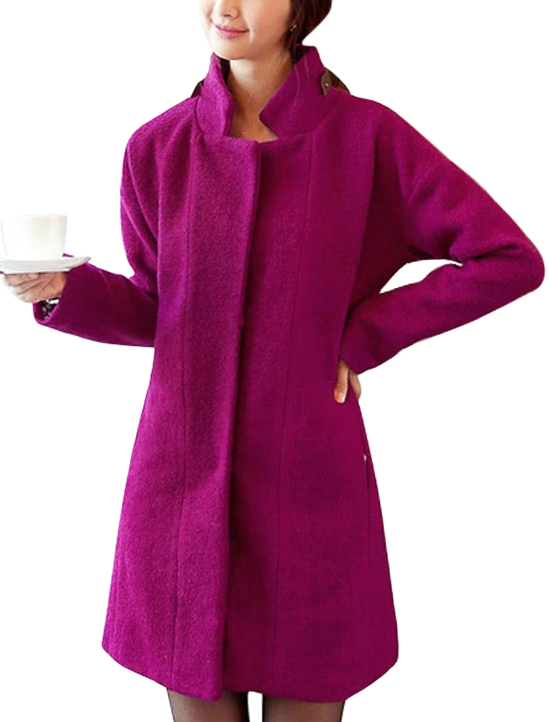 Ladies Fuchsia Single Breasted Front Pockets Strap Decor Long Worsted Coat XL