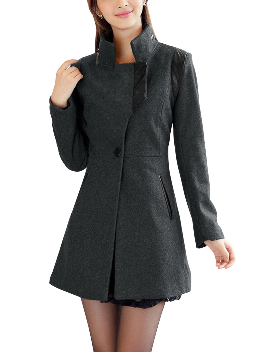 Women Convertible Collar Button Closed NEW Trench Worsted Coat Dark Gray XL