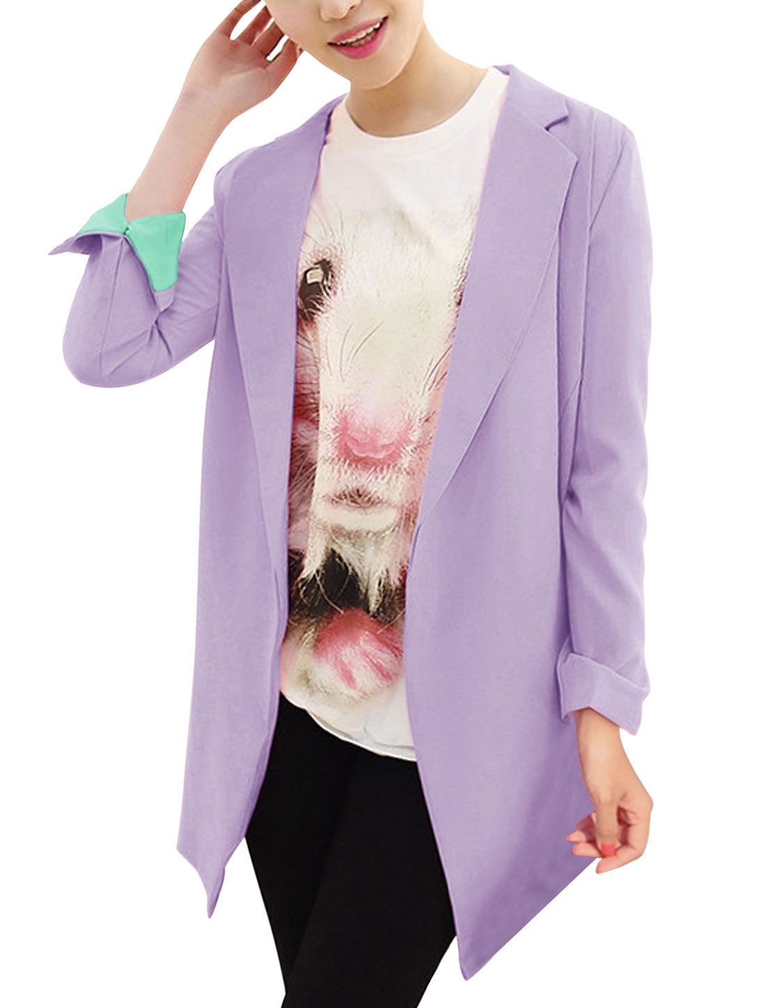 Women Notched Lapel Buttonless Fashion Trench Jacket Lilac XS
