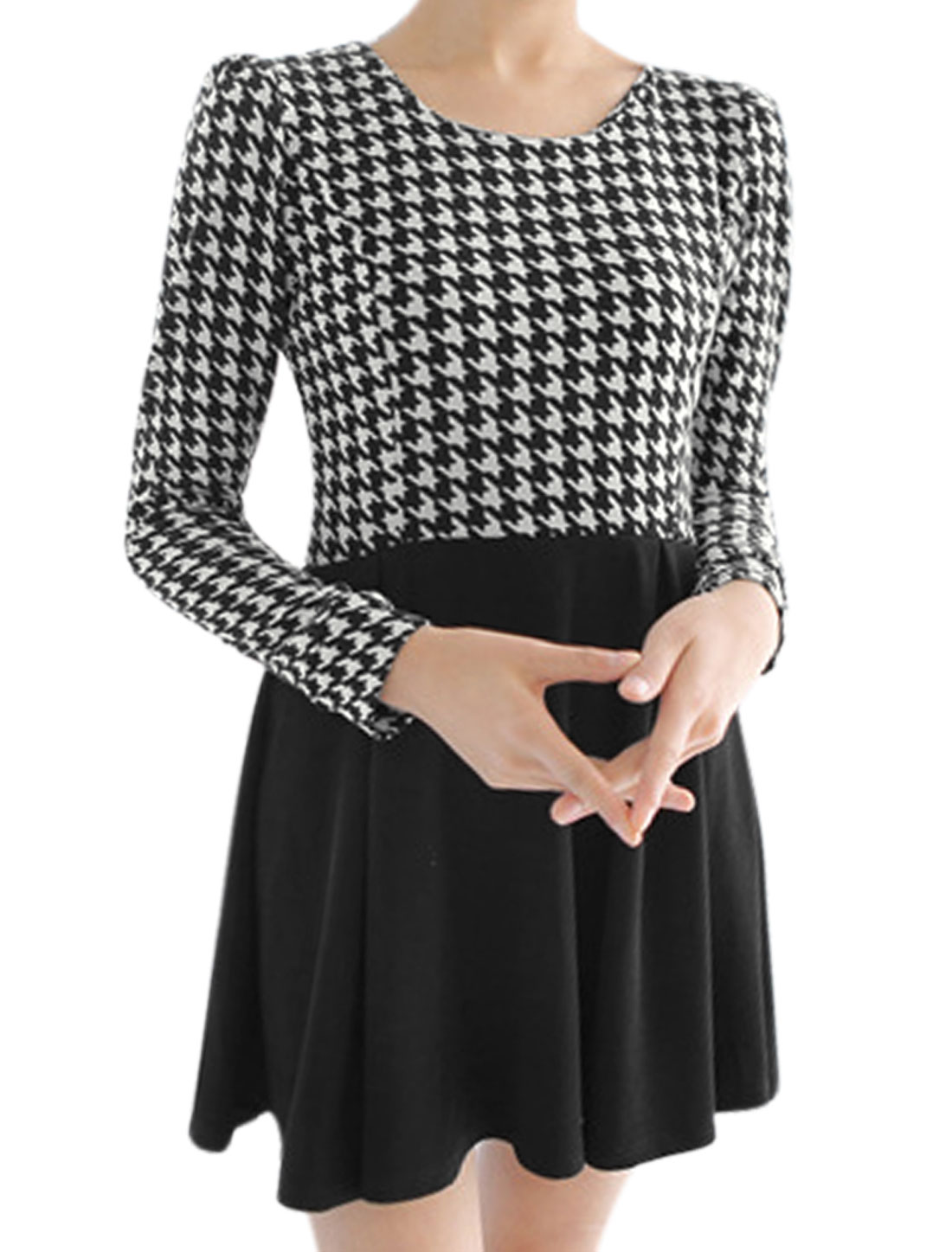 Women Houndstooth Long Sleeves Panel A-line Dress Black Beige S