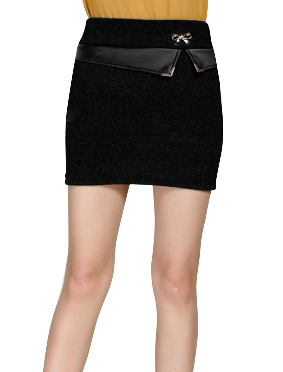 Natural Waist Imitation Leather Panel NEW Worsted Skirt for Women Black XS