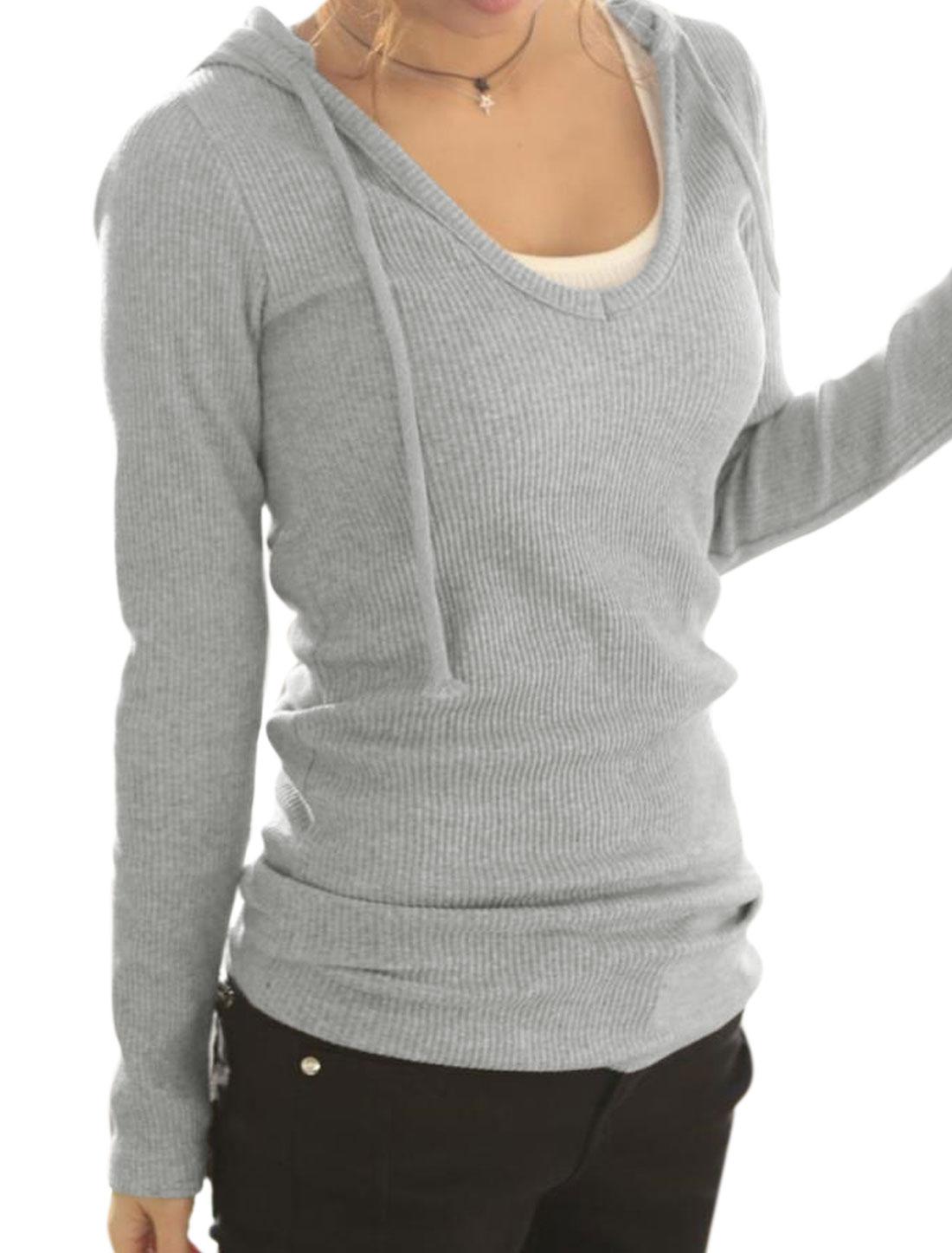 Ladies Light Gray Pullover Drawstring Slim Fit Leisure Hoodie Sweatshirt XS