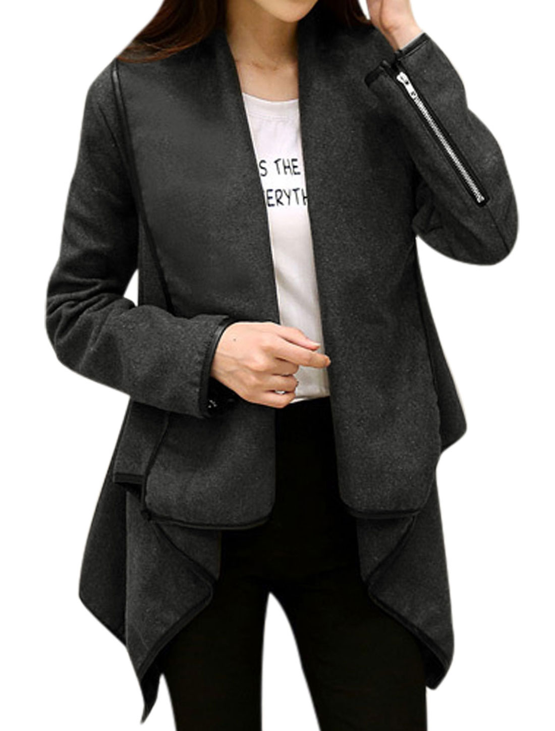 Ladies Draped Design Irregular Hem Dark Gray Worsted Peplum Jacket L