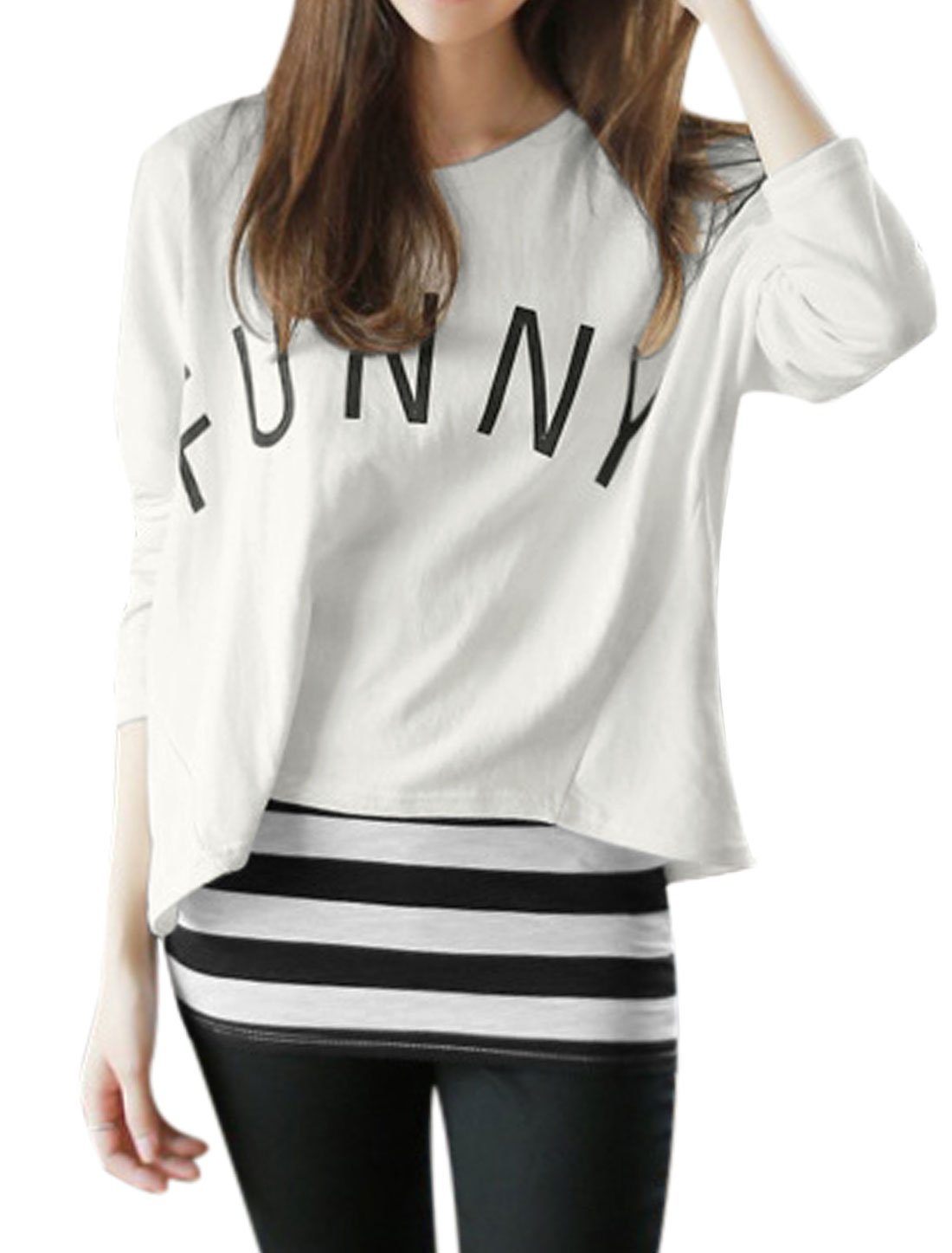 Lady Letters Prints Batwing Sleeve Beige Shirt w Stripes Tank Top Black White XS