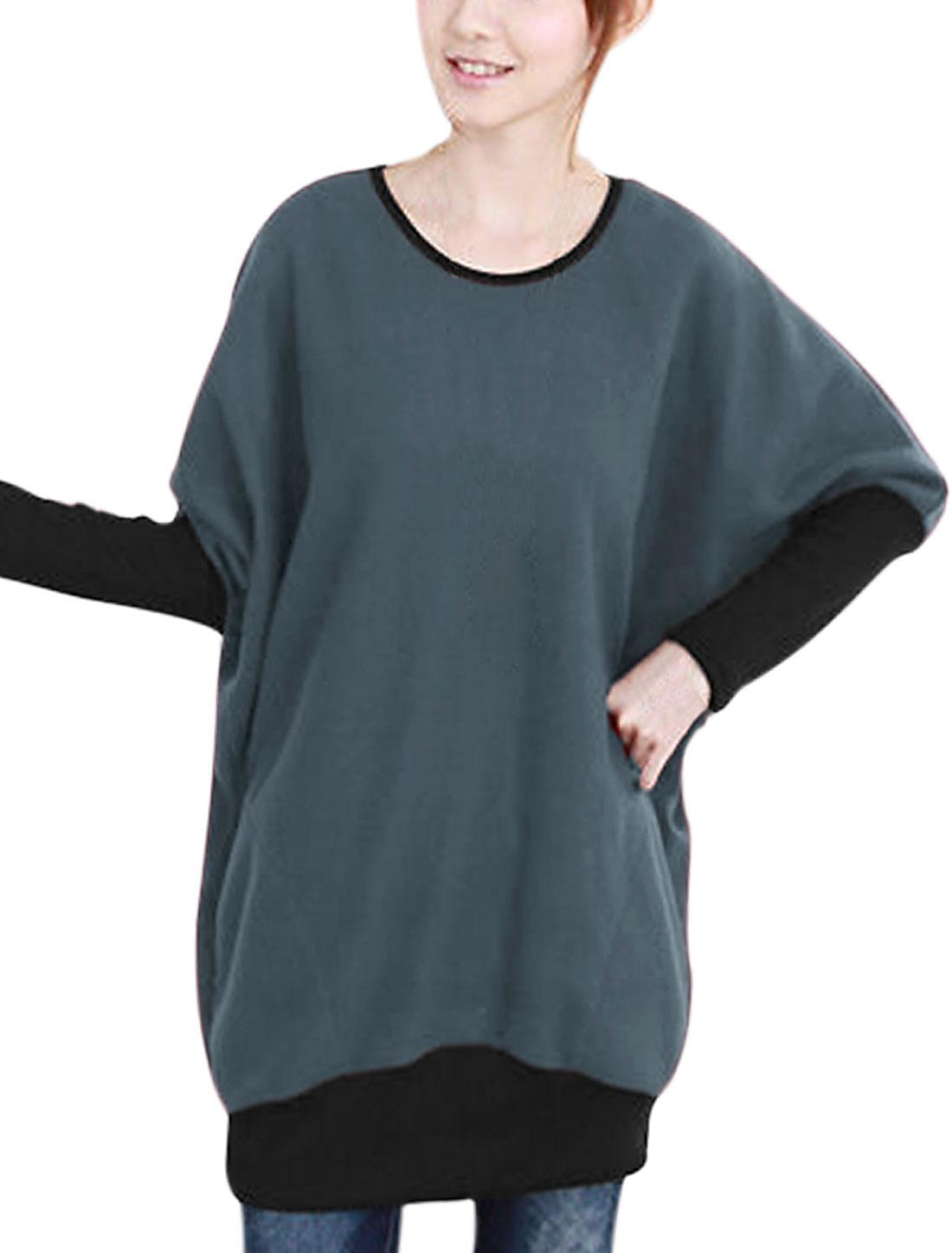 Women Long Sleeves Round Neck Fleece Leisure Tunic Top Dark Gray Black S