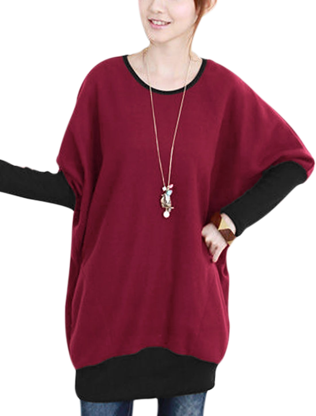 Women Color Block Batwing Sleeves Slipover Tunic Top Burgundy Black S