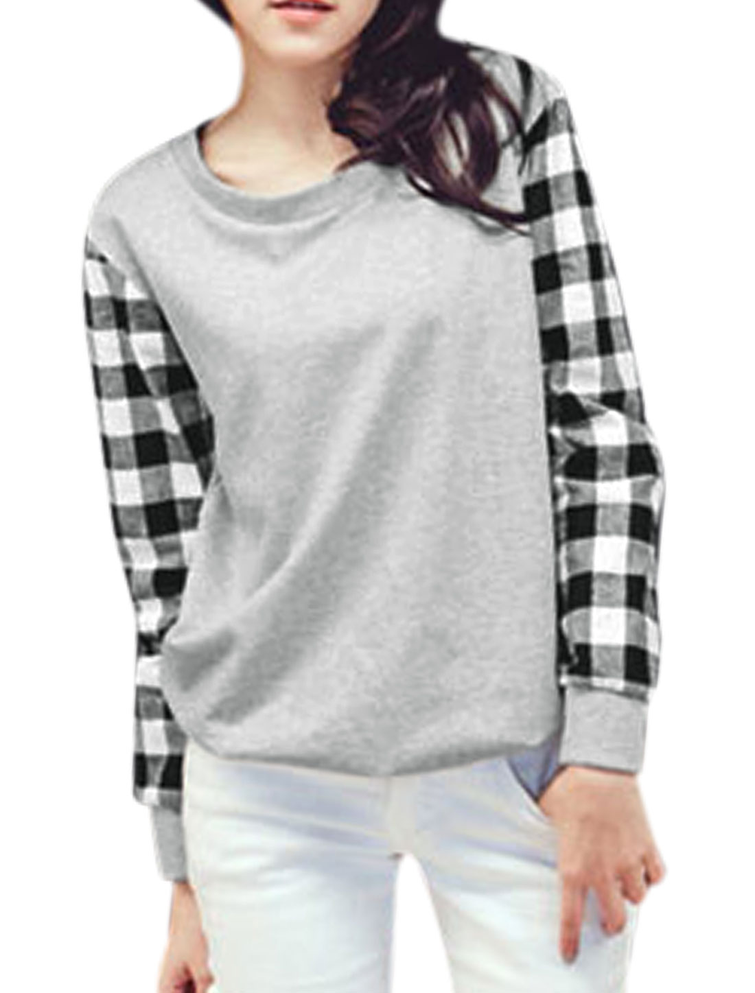 Ladies Long Sleeves Splicing Check Light Gray Casual Shirt XS