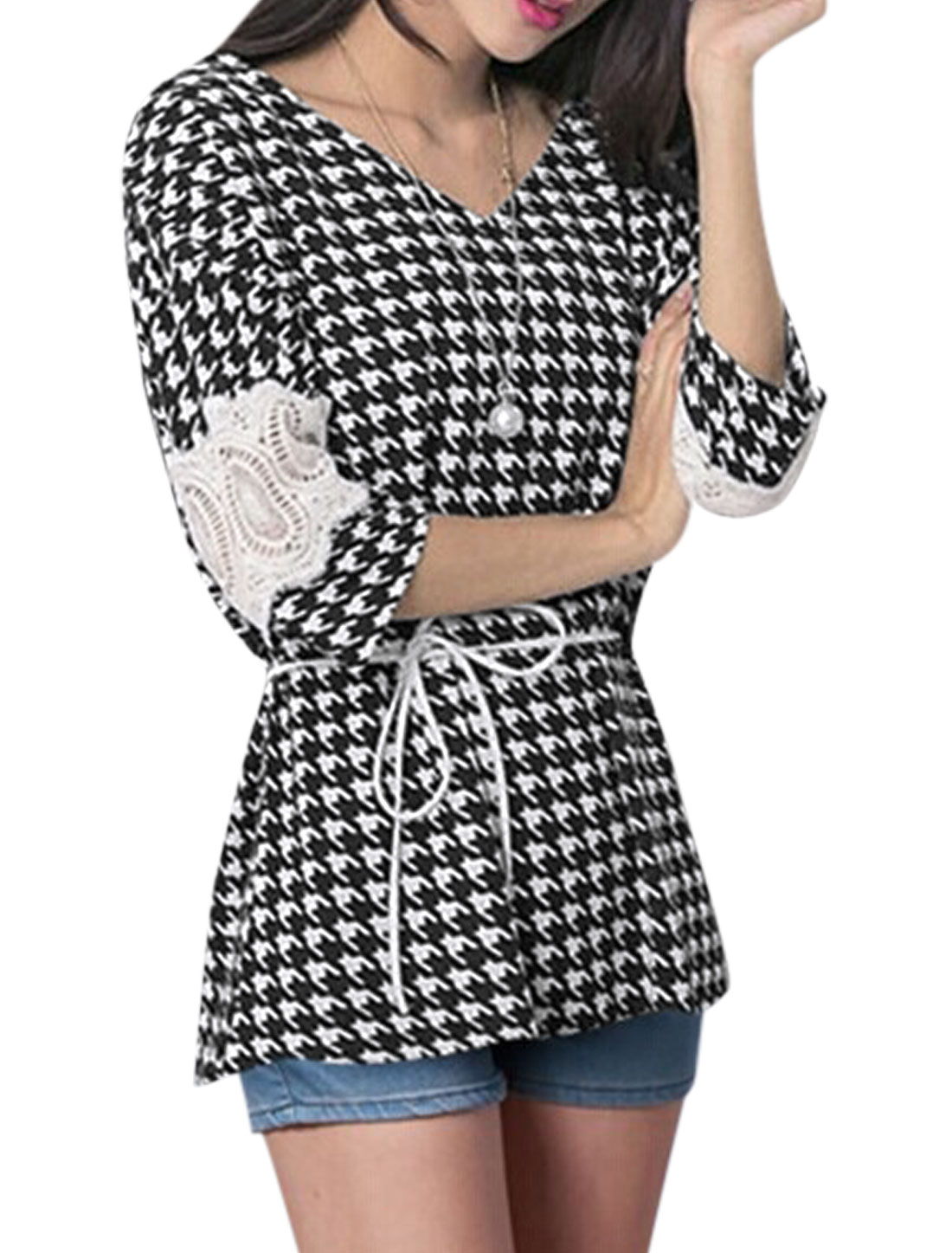 Women Houndstooth 3/4 Batwing Tunic Top w Waist String Black White XS