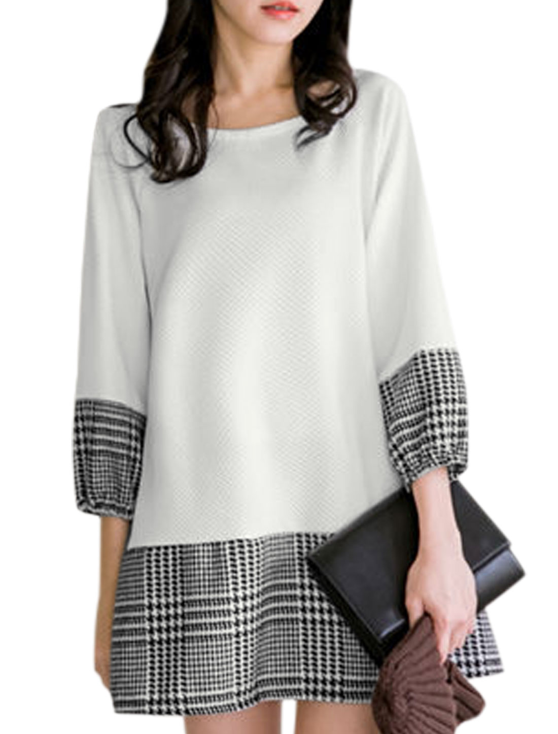 Round Neck Houndstooth Pattern Leisure Dress for Women White S