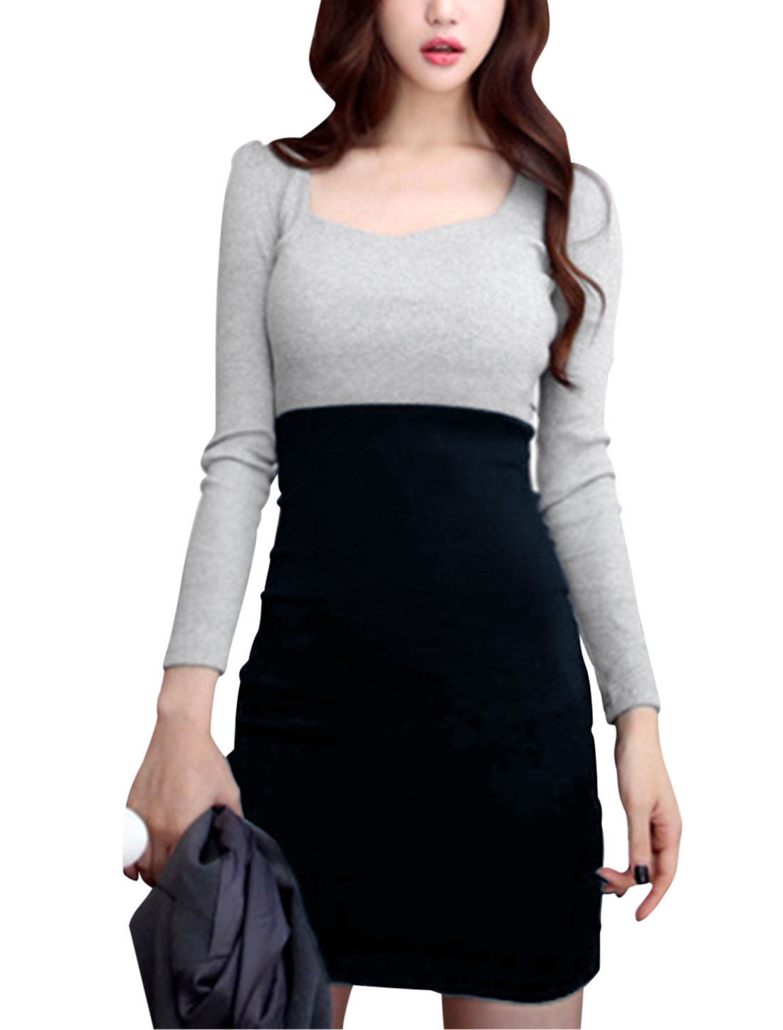 Ladies Navy Blue Gray Pullover Color Block Slim Fit Long Sleeves Unlined Dress M