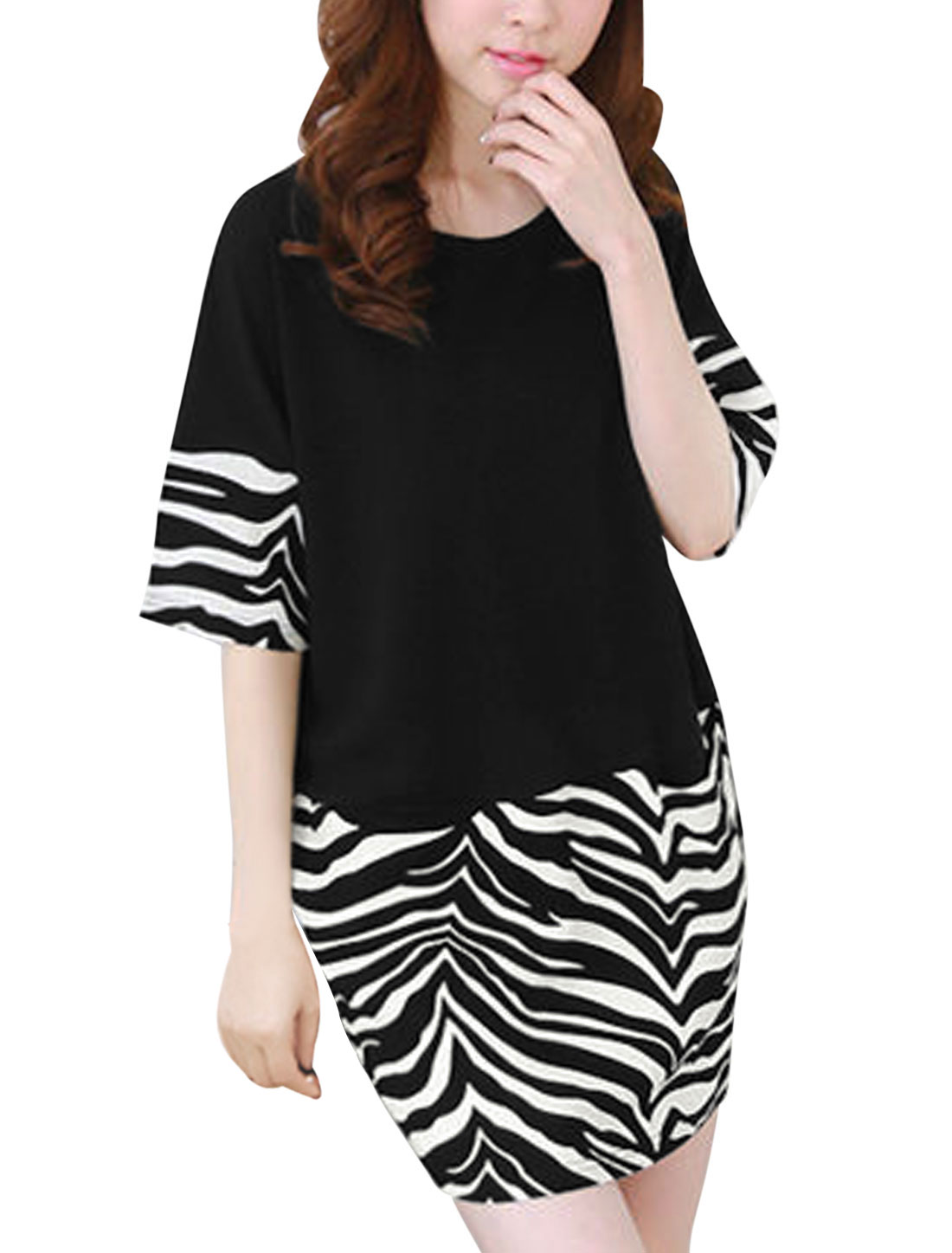 Elbow Sleeves Zebra-Stripe Prints Leisure Dress for Women Black M