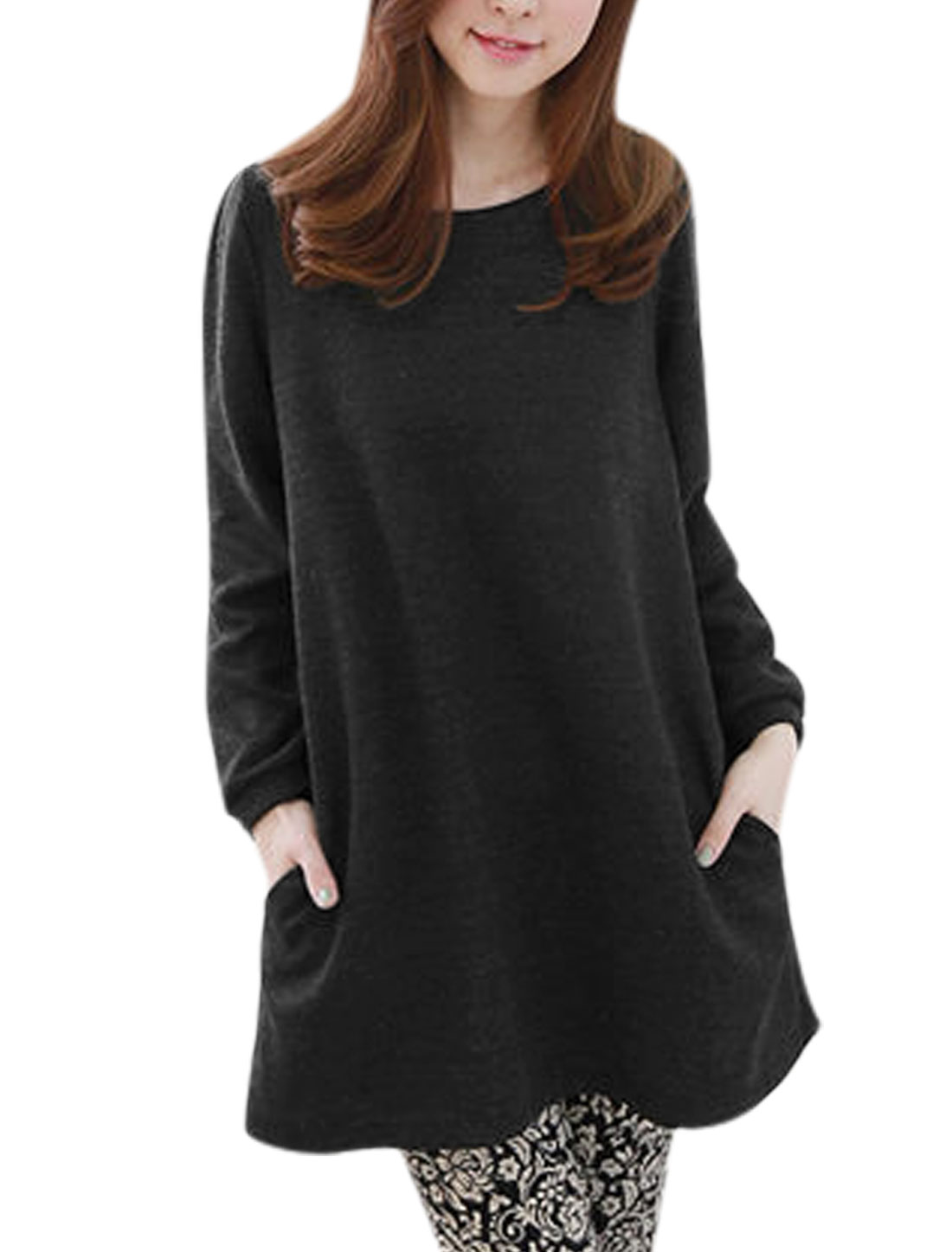 Long Sleeves Bowknot Decor Back Trendy Tunic Blouse for Women Black XS