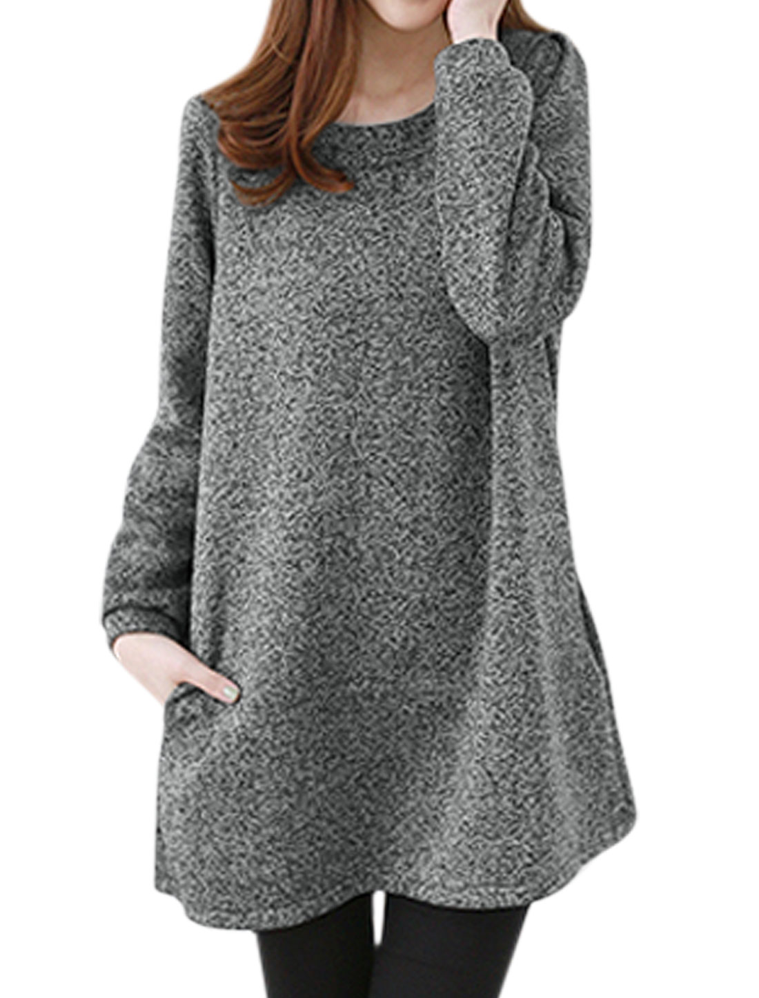 Round Neck Bowknot Decor Back Casual Tunic Blouse for Women Heather Gray XS