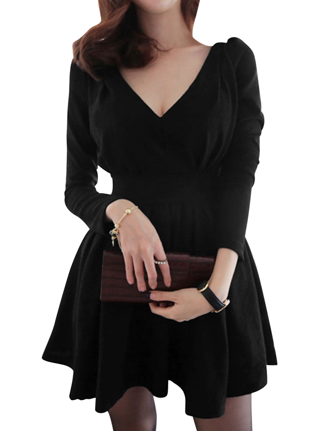 Ladies Black Pullover Ruched Detail Zip Up Front V Back leisure Dress M