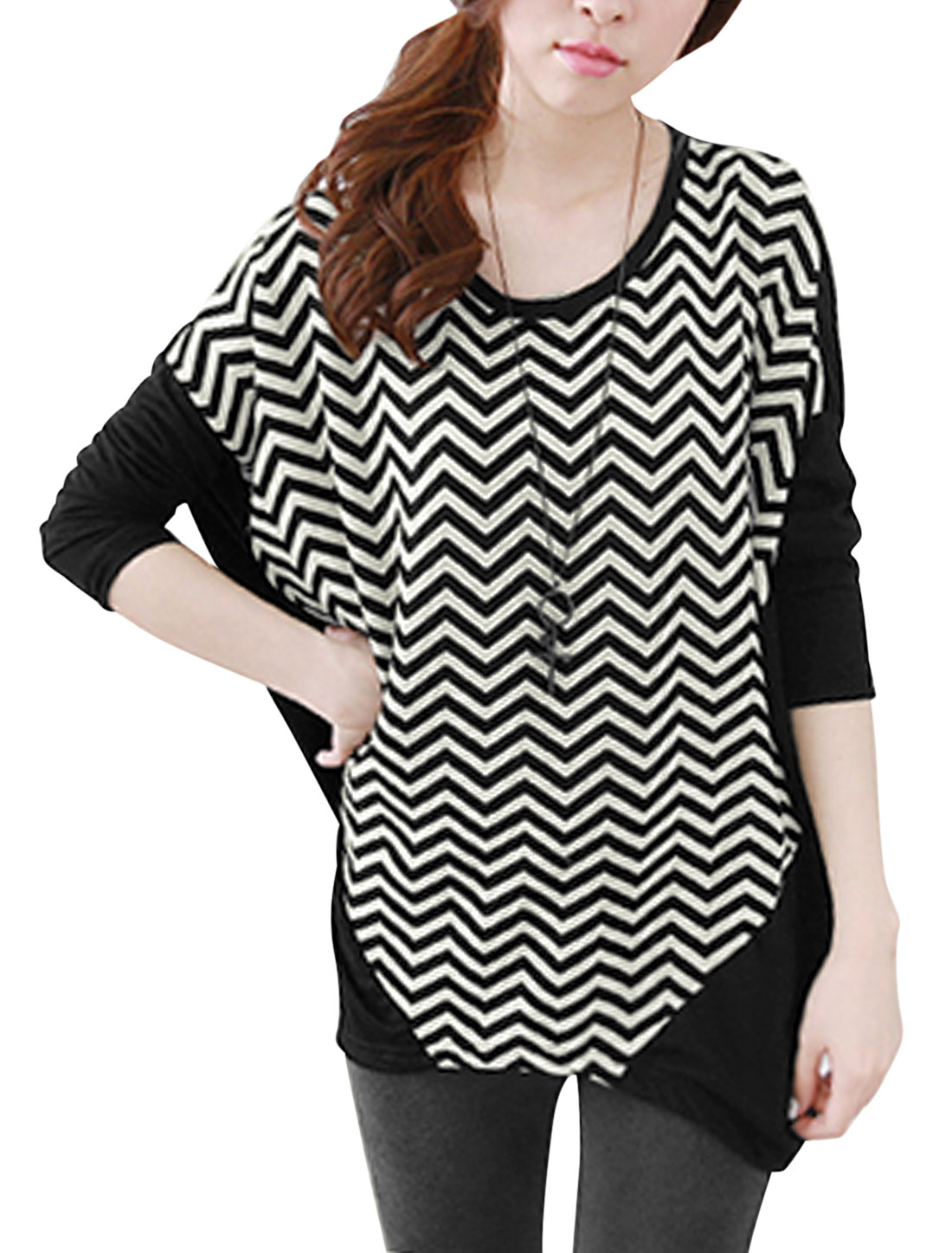 Ladies Black Pullover Contrast Color Zigzag Prints Splice Tunic Knit Shirt S