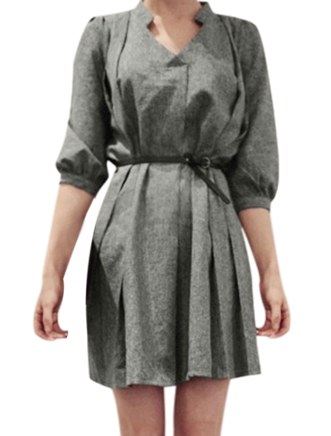 Ladies Gray Pullover Ruched Detail Split Neckline Unlined Dress w Strap M
