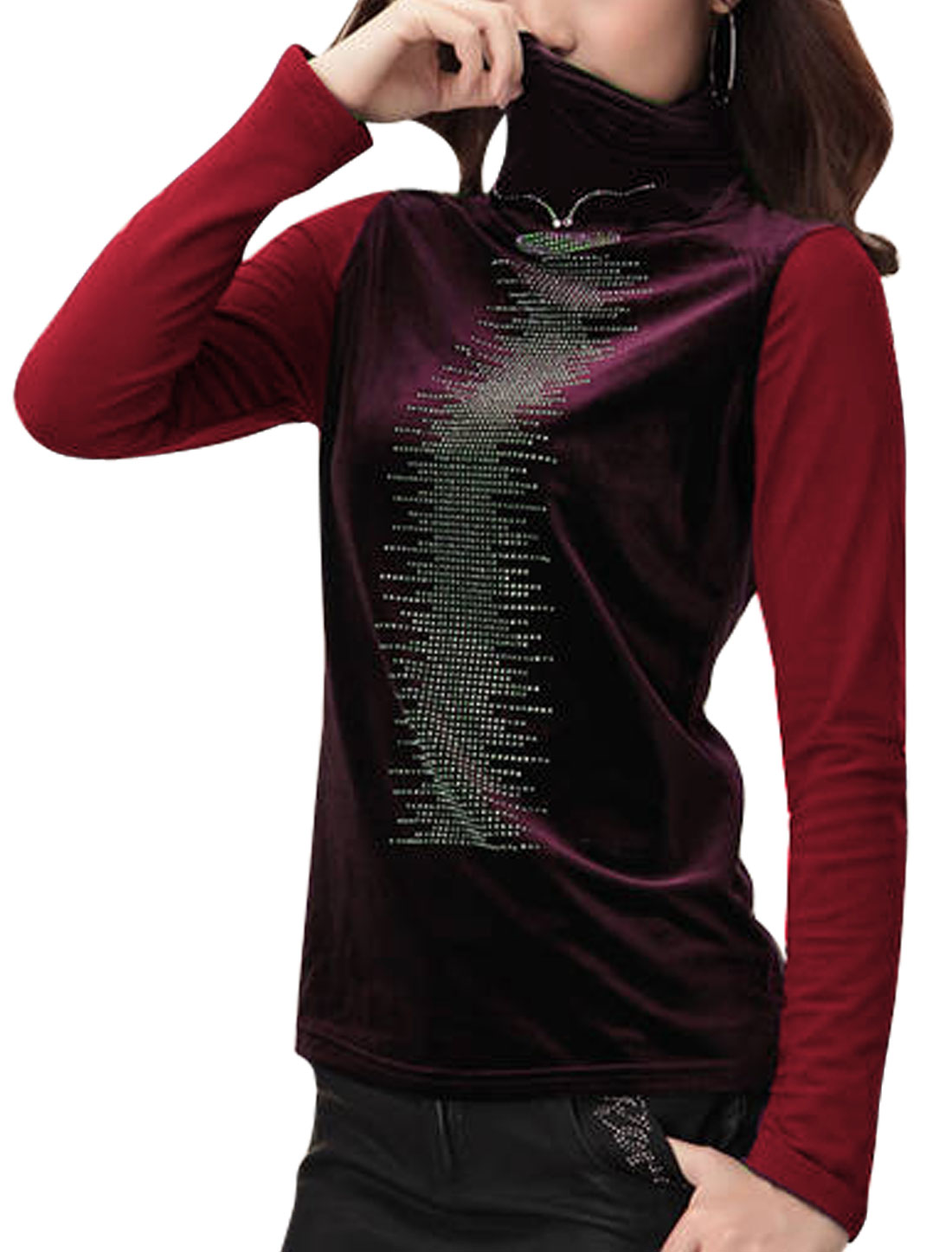 Women Turtle Neck Velvet Spliced Heavy Mesh Shirts Burgundy M