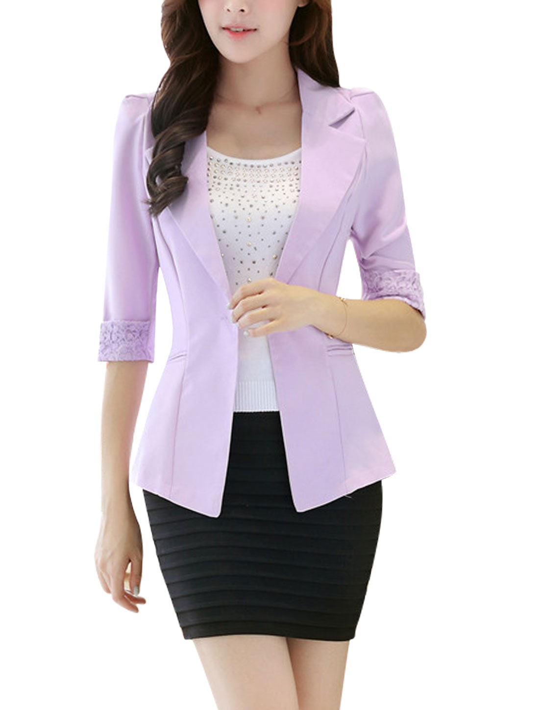 Lady 1/2 Sleeves Panel Design Slim Fit Violet Blazer Jacket M