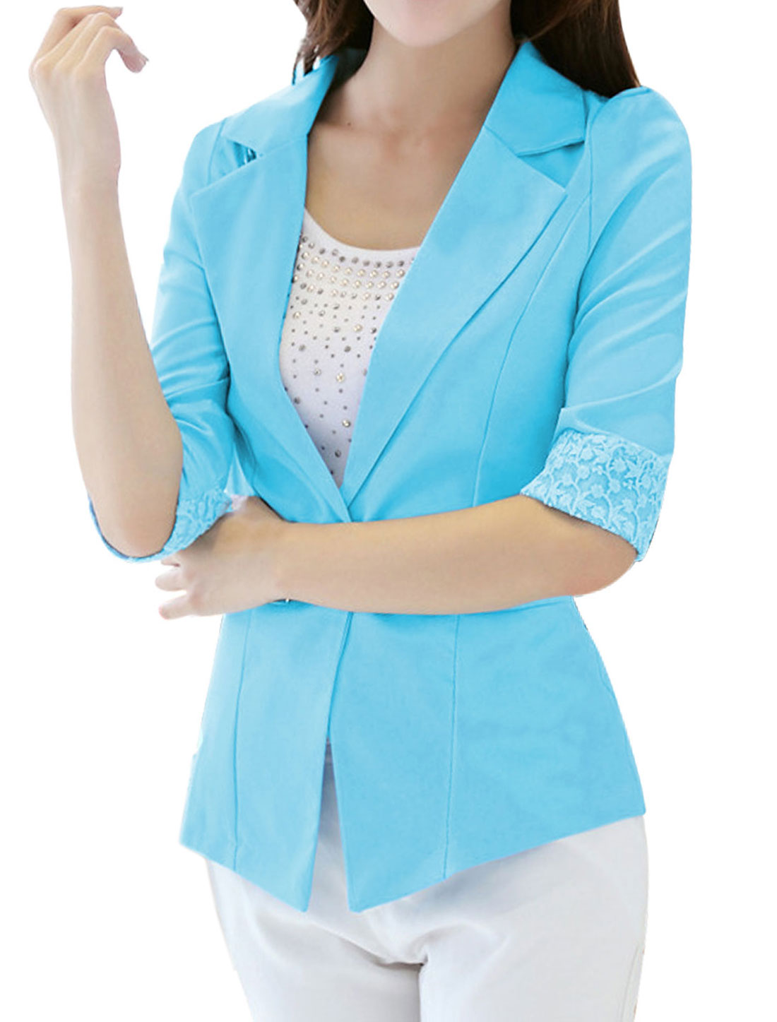 Half Sleeves Semi-Sheer Lace Panel Sky Blue Blazer Jacket for Lady M