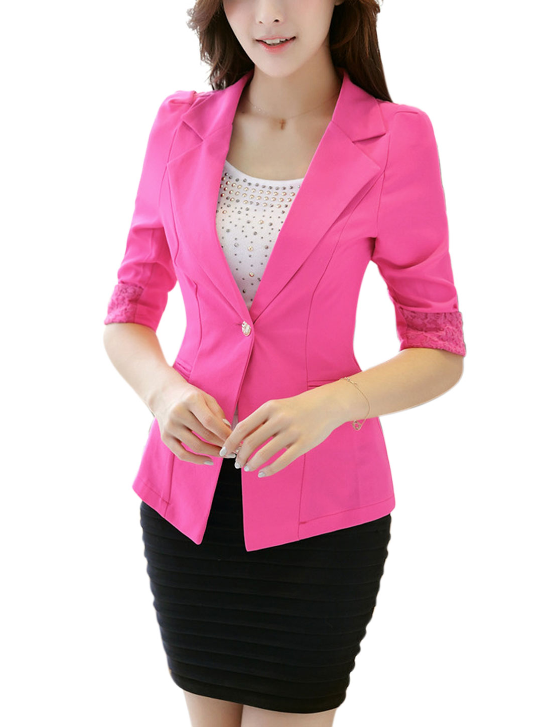 Woman One Button Closed 1/2 Sleeves Fuchsia Blazer Jacket M