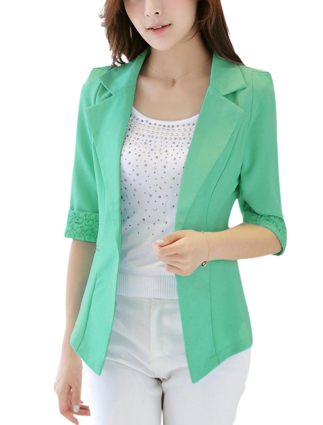 Roll Up Cuffs Half Sleeves Slim Fit Light Green Blazer Jacket for Ladies M