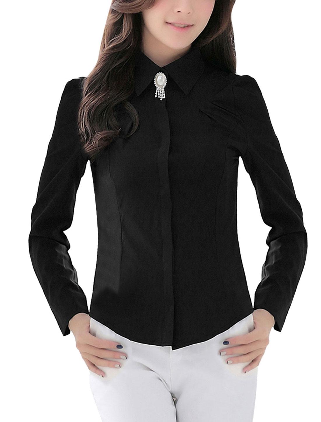 Women Puff Long Sleeve Button Down Shirt w Brooch Black M