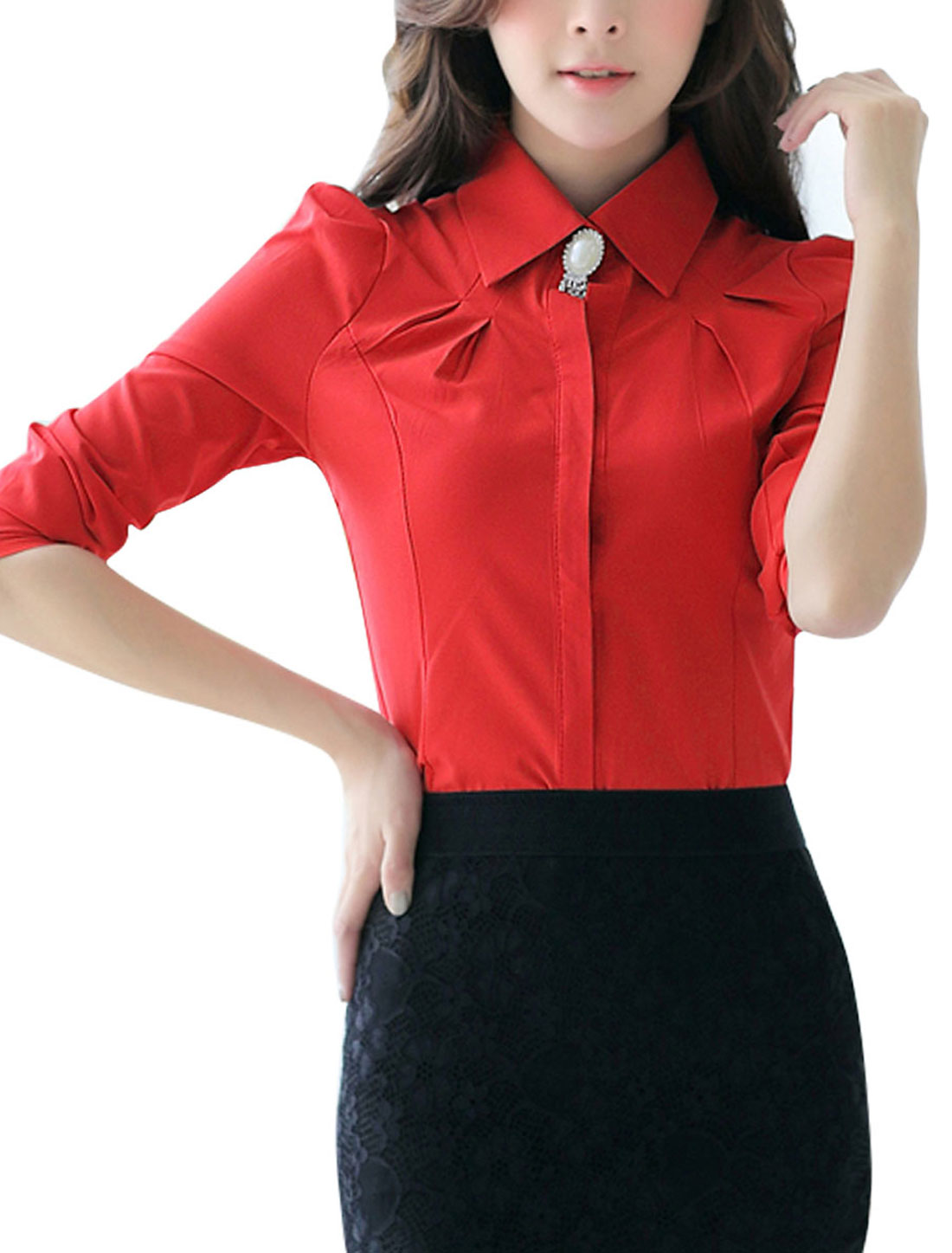 Puff Sleeves Point Collar Button Up Red Shirt for Women M