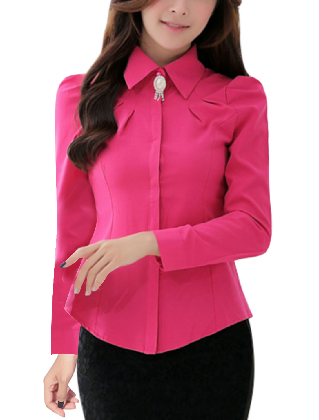 Point Collar Hidden Button Closed Fuchsia Shirt for Woman M