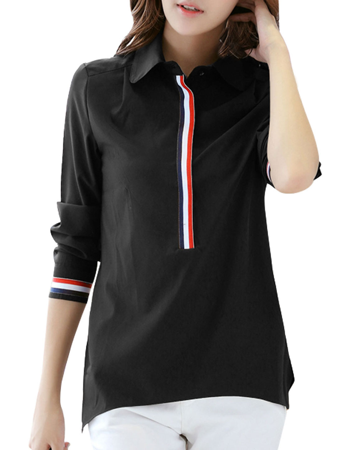 Women Turn Down Collar 1/2 Placket Long Sleeve Tunic Shirt Black L