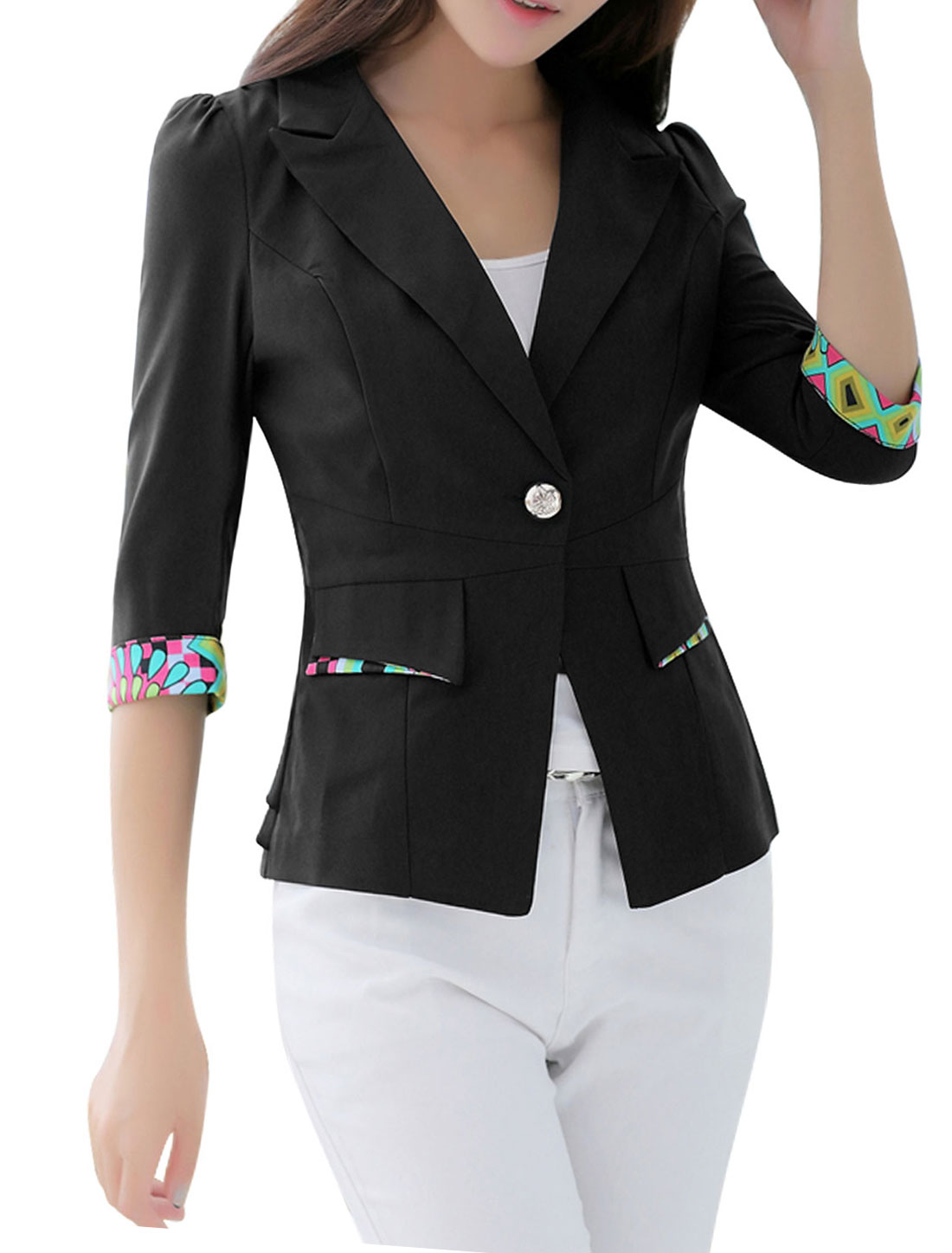 Women Peaked Lapel One Button Front Blazer Jacket Black L