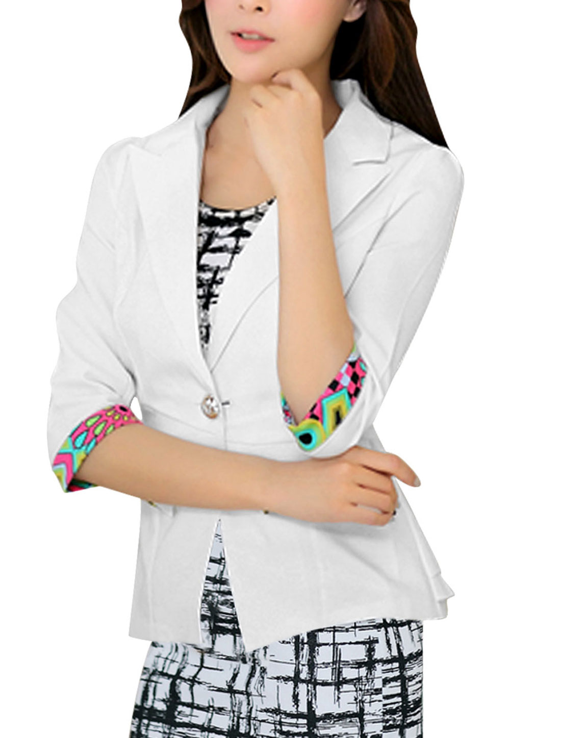 Ladies 3/4 Sleeves Button Closed White Blazer Jacket L