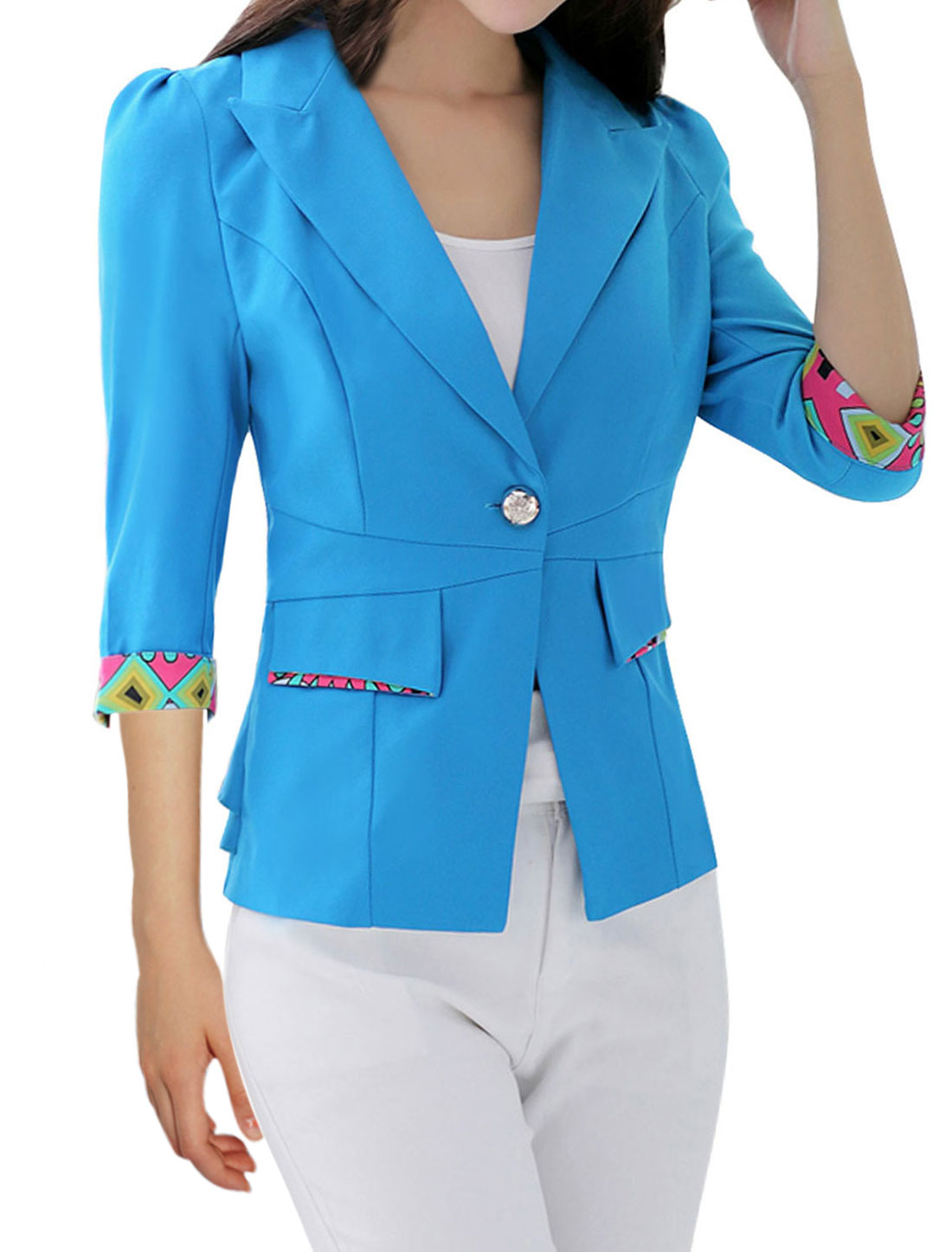 Lady Peaked Lapel Roll-up Cuffs Slim Fit Blue Blazer Jacket L