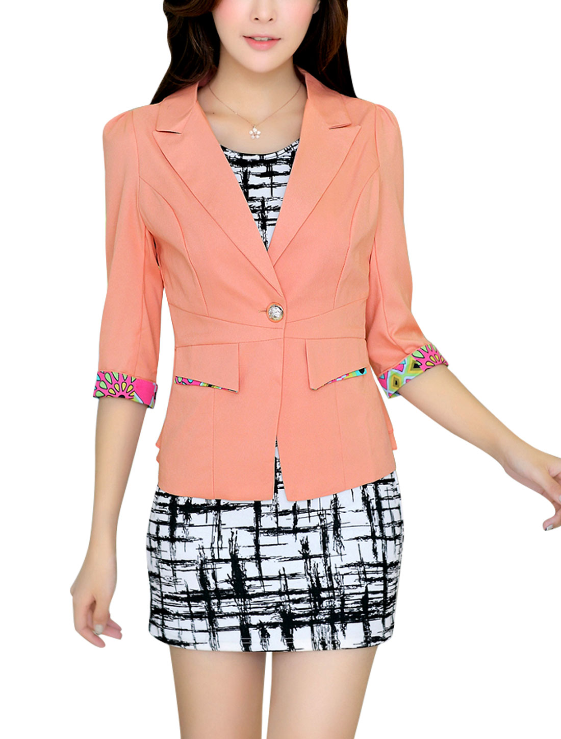 Roll-up Cuffs Button Closure Salmon Blazer Jacket for Women L