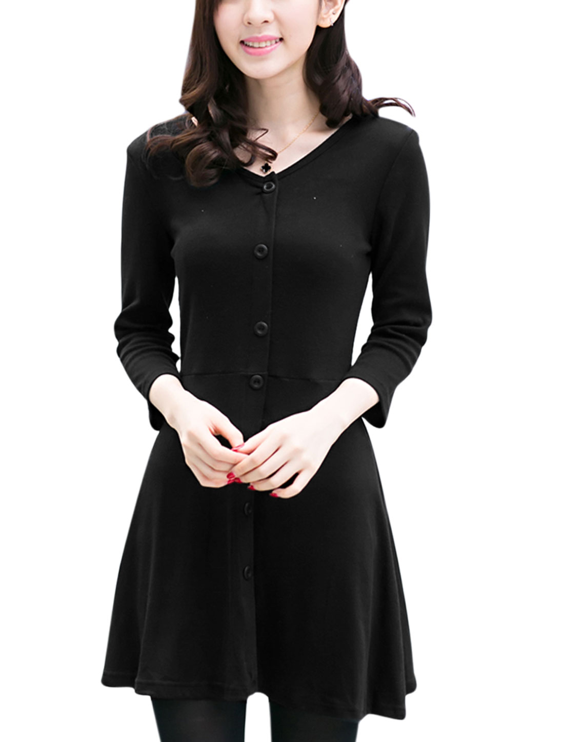 V Neck Button Decor Leisure A-Line Dress for Women Black M