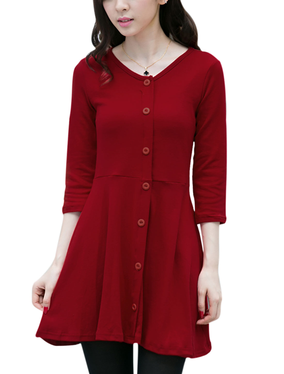 3/4 Sleeves Button Decor A-Line Dress for Women Burgundy M